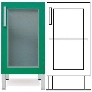 Golvstående skåp - ISO-modul - 1 glasdörr och 1 anpassningsbar hylla