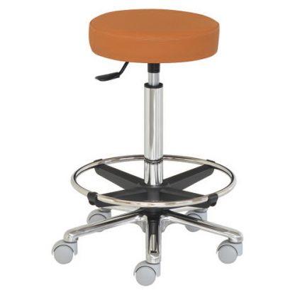 Rund stol med fotstöd - Platt yta - Aluminiumbas