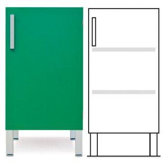 Golvstående skåp - ISO-modul - 1 dörr och 2 anpassningsbara hyllor