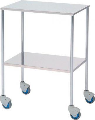 Instrument table - 2 shelves - 60x40x80 cm - Flat edges - Chromed steel