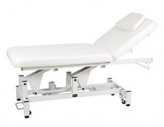 Electric treatment table - 2 sections with wheels - TwinPillar-lift - Face hole