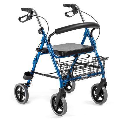 Rollator i aluminium med 4 hjul