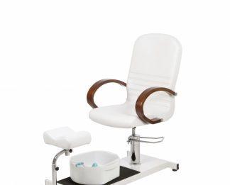 Roterbar pedikyrstol med fotspa och justerbart benstöd