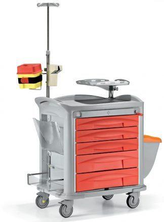 Akutvagn - Fullt utrustad med tillbehör anpassade för akutvård - Plastram
