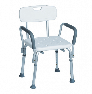 Shower seat with backrest and armrest