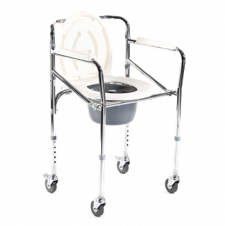 Foldable commode chair - Height adjustable - With wheels