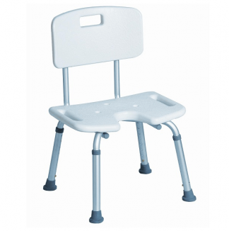 Duschstol med ryggstöd- U-formad sittyta