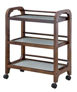 Brown wooden trolley customised for SPA facilities - 3 shelves