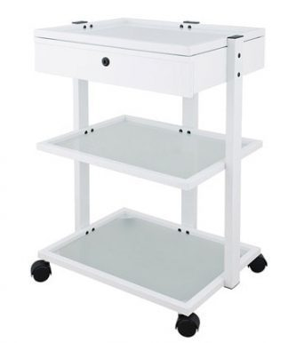 Elegant trolley with white coated steel frame with 3 shelves of glass and one drawer