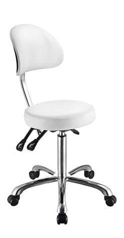 Rund stol med ryggstöd - Kromad ram