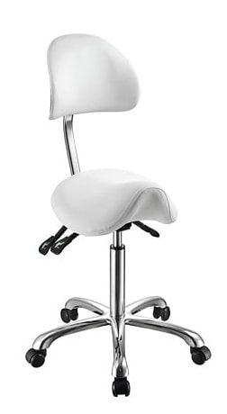 Sadelstol med ergonomiskt ryggstöd i elegant design med kromad ram