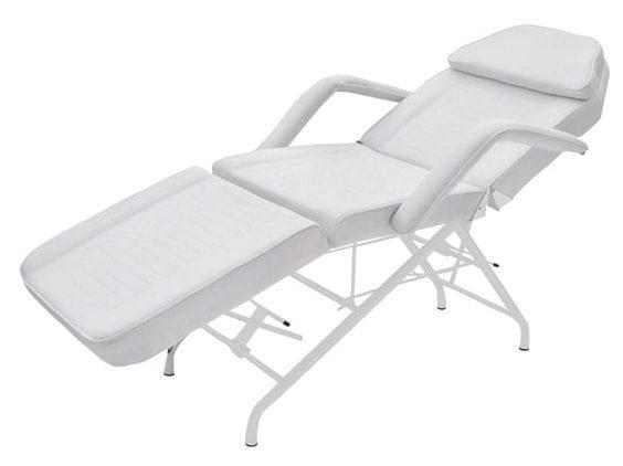 Stationär behandlingsstol - 3-delad - Vitlackerad stålram - PVC-klädsel