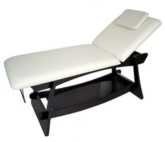 Stationary spa bed - 2 sections with wooden base (PVC)