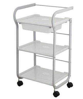 Trolley with white coated steel frame - 3 shelves