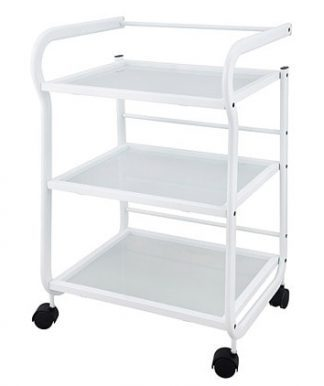Trolley with white coated steel frame - 3 shelves - White coated