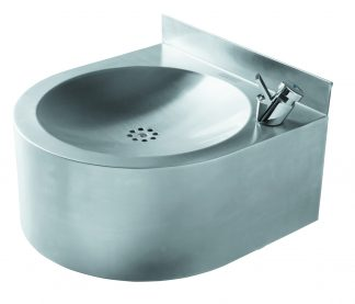 Wall mounted drinking fountain in stainless steel