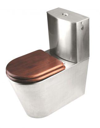 Toalett i rostfritt stål med toalettsits i brunlackerat trä