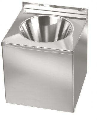 Wall mounted washbasin made out of stainless steel (AISI 304)