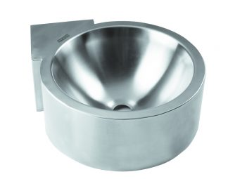 Wall and corner mounted stainless steel wash basin (AISI 304)