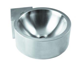 Vägg- och hörnmonterat tvättställ i rostfritt stål (AISI 304)