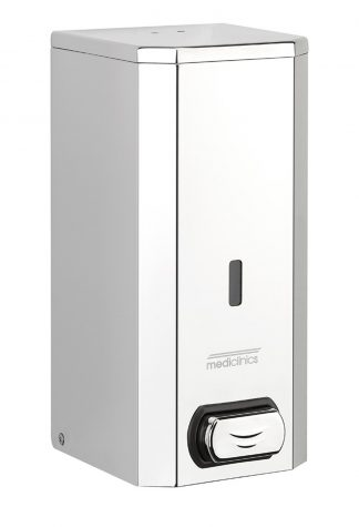 Soap dispenser with button for spray soap