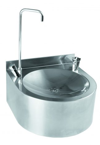 Wall mounted drinking fountain in stainless steel with bottle filling function