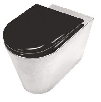 Toalett i rostfritt stål med toalettsits i svartlackerat trä