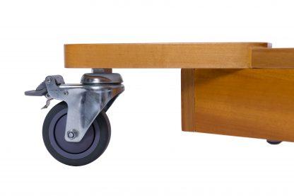 2-delad massagebänk i trä - Elektriskt reglerbar - Hjul