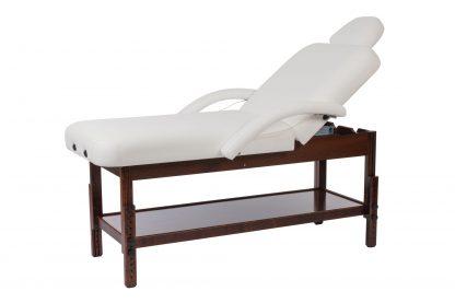 2-delad massagebänk i brunt trä - Reglerbar höjd