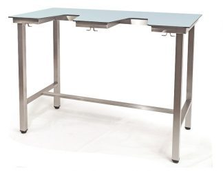 Demountable echocardiography table with HPL on compact laminate top