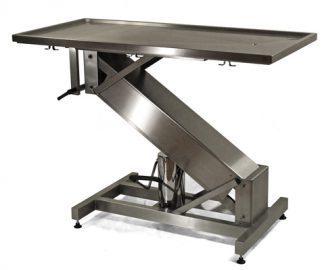 Hydrauliskt operationsbord för djur med Z-formad bas i rostfritt stål och platt yta