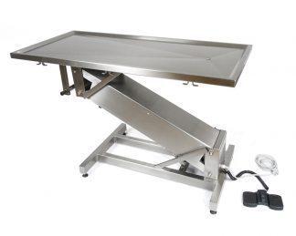 Elektriskt operationsbord för veterinärer med Z-formad bas och platt toppyta