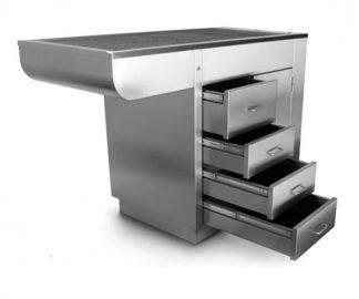 Djurbadkar i rostfritt stål med 1 dörr och 4 lådor