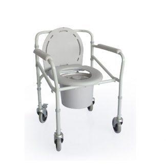Hopfällbar duschstol med toalettfunktion - Hjul med bromsar