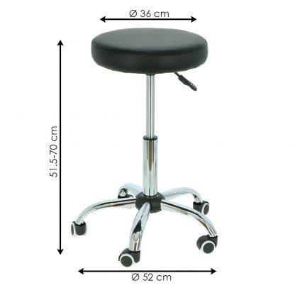 Taburett - Rund pall med hjul