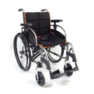 Hopfällbar rullstol i aluminium - Justerbart ryggstöd och tyngdpunkt