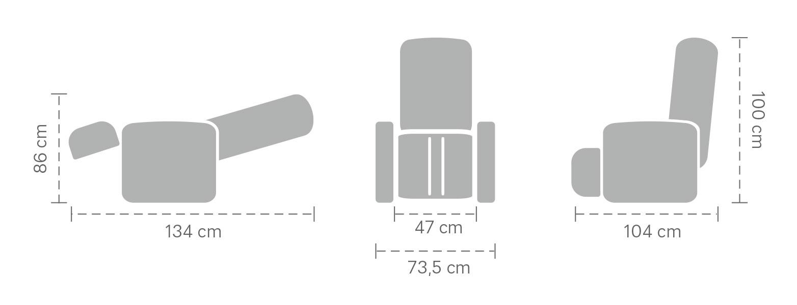 Dimensioner massagefåtölj Bello 2